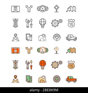 Travelling and location outline and flat colors icons. Travel flat sign of set. Vector illustration - Stock Photo