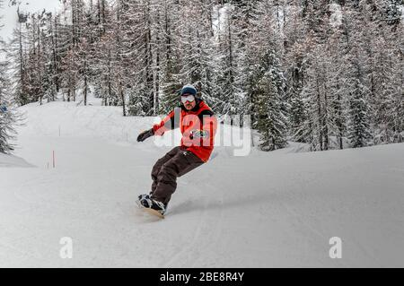 Snowboarder in La Thuile, Aosta Valley, Italy - Stock Photo