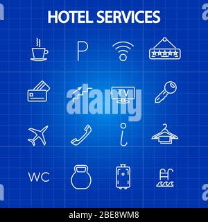 Hotel services thin line icons. Tourism and vacation symbol. Vector illustration - Stock Photo