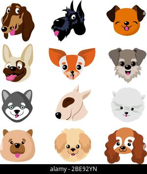 Funny cartoon dog faces. Cute puppy animal vector set. Collection of dog and puppy funny pets illustration - Stock Photo