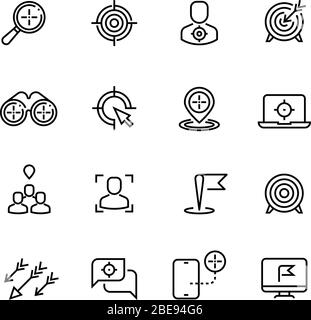 Bullseye, customer focus and targeting line vector icons. Success bullseye, arrow accuracy in dartboard illustration - Stock Photo