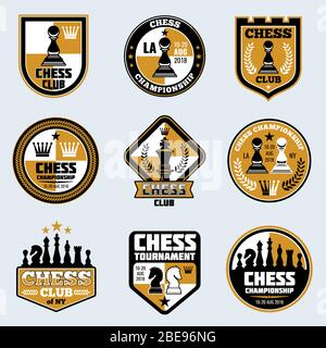 Chess club labels. Business strategy vector logos and emblems. Game chess logo tournament and championship illustration - Stock Photo