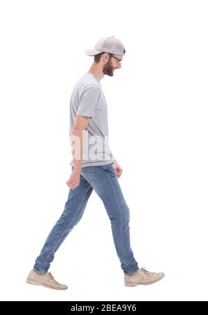 in full growth. modern young man stepping forward - Stock Photo