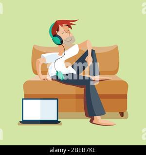 Man resting on sofa with music and notebook. Vector illustration
