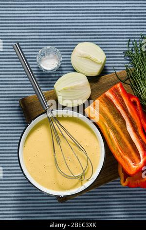 ingredients for plant-based Italian omelette. healthy vegan cuisine - Stock Photo