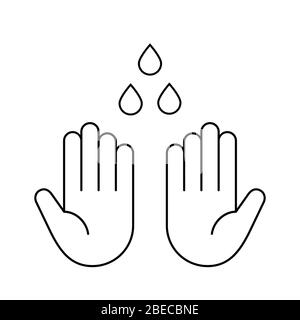 Wash your hands sign. Washing hands thin line icon. Two human palms and drops of water outline. Safety measures. Disinfection. Sanitizer. Vector - Stock Photo