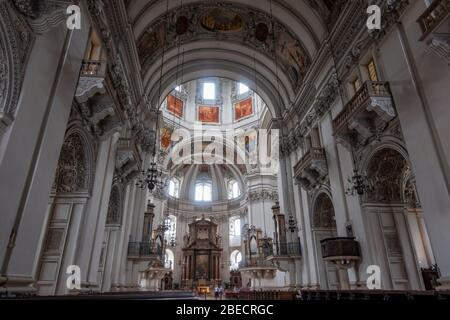 The stunning central nave and altar inside Salzburg Cathedral (Dom zu Salzburg), Salzburg, Austria. - Stock Photo