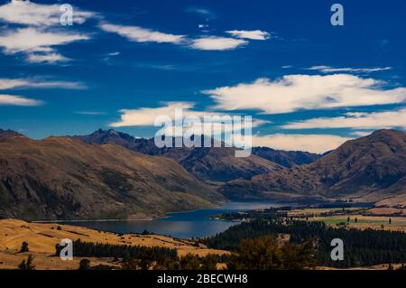 View of Lake Hawea from Mount Iron. South Island, New Zealand. - Stock Photo