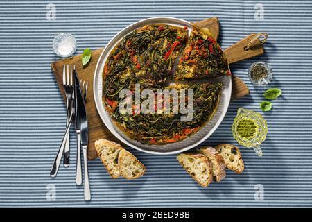 plant-based Italian omelette. healthy vegan cuisine - Stock Photo