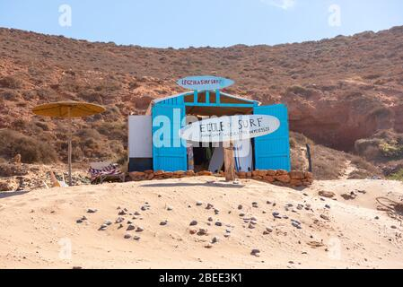 Landscape of Legzira Beach with its natural arches at the coast of Atlantic ocean. Legzira Beach is located on the ocean coast of Morocco, in Sidi Ifn