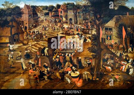 A Village Fair (Village festival in Honour of Saint Hubert and Saint Anthony) by Pieter Brueghel the Younger (1564-1638), oil on panel - Stock Photo