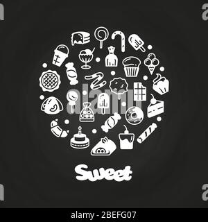 White sweet desserts cakes candies icons on chalkboard. Vector illustration - Stock Photo
