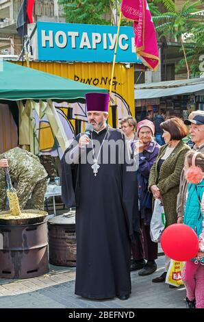 Dnipro, Ukraine - September 29, 2018: Rector Church Nativity of Blessed Virgin Mary in celebration at festivalin honor of 100th anniversary Dnipro Aca - Stock Photo