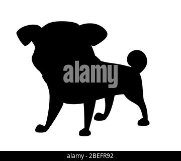 Black silhouette cute small friendly pug dog cartoon domestic animal design flat vector illustration isolated on white background - Stock Photo