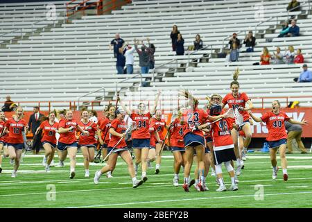 Syracuse, New York, USA. 10th Feb, 2020. Stony Brook Seawolves celebrate following an NCAA womens lacrosse game against the Syracuse Orange on Monday, Feb, 10, 2020 at the Carrier Dome in Syracuse, New York. Stony Brook won 17-16. Rich Barnes/CSM/Alamy Live News - Stock Photo
