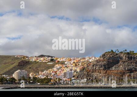 Views From The High Seas Of The Capital Of La Gomera San Sebastian De La Gomera. April 15, 2019. La Gomera, Santa Cruz de Tenerife Spain Africa. Trave