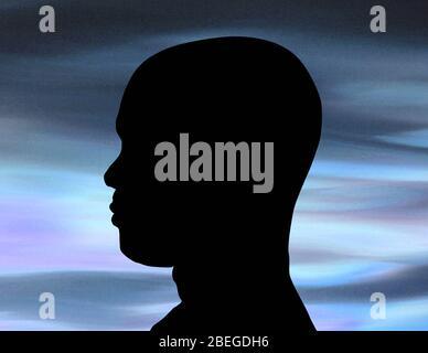 Male Profile in Silhouette - Stock Photo
