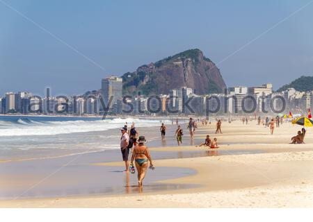 beach rudder in Copacabana in Rio de Janeiro, Brazil - March 15, 2020: Rudder beach in Copacabana in a typical sunny day in the city. - Stock Photo