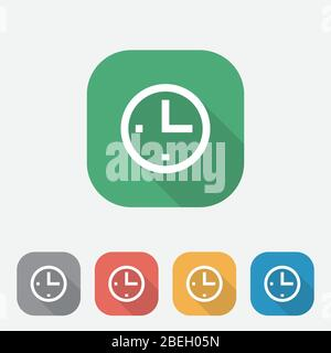 Clock icon in flat style, colorful square time icon, time Icon with Side Shadow, icon flat design for apps and website, Vector illustration, eps10 - Stock Photo