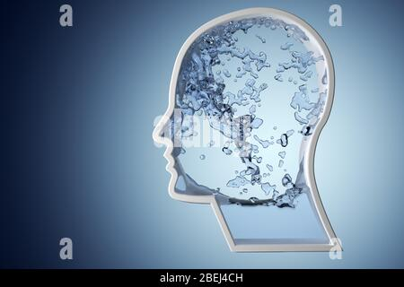 Human head shape filled with blue water on blue gradient background - hydration, healthy lifestyle or wellness concept, 3D illustration - Stock Photo