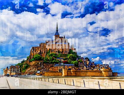 Picturesque view at the Mont Saint Michel. Le Mont Saint Michel island, one of the most visited sites in France. Color pencil sketch illustration.