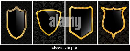 Retro vector black and gold security shield badge graphic emblem logo design collection - set of protection and safety