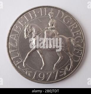 A twenty five pence British Silver Jubilee Commemorative coin from 1977