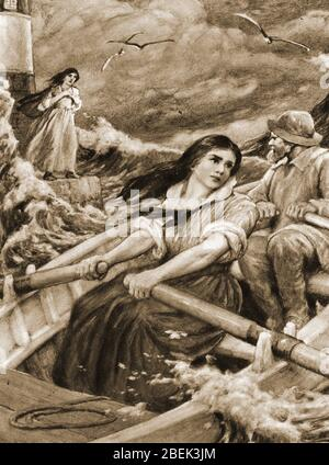 1920  Artist's impression - Grace Horsley Darling (1815-1842)  and her father rescuing the survivors from the wreck of the steamer 'Forfarshire'. Grace Darling was an English lighthouse keeper's daughter. who with her father William used a rowing boat to rescue 9 survivors (of a total of  62 people) from the shipwrecked Forfarshire in 1838.   The paddle steamer ran aground on the Farne Islands off the coast of  Northumberland under conditions that were so bad a lifeboat rescue was difficult to attempt. The 23 year old and her father achieved national fame.She died of tuberculosis in 1842.