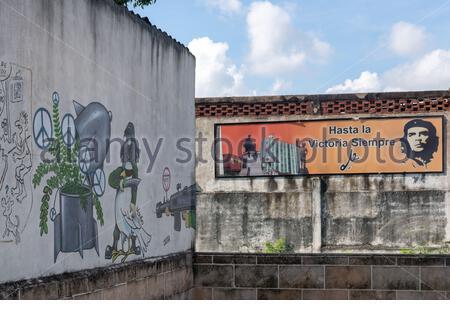 Santa Clara, Cuba, Che Guevara billboard and 'Melaito' humor in city walls - Stock Photo