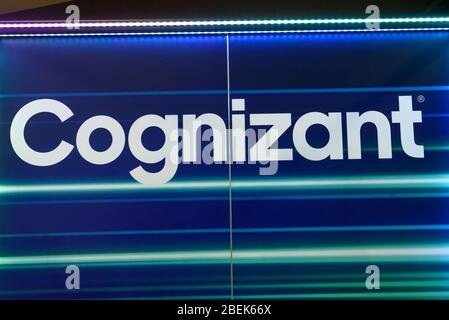 RIGA, LATVIA. 10th October 2019. Logo of Cognizant company. Cognizant is an American multinational corporation that provides IT services, including di - Stock Photo