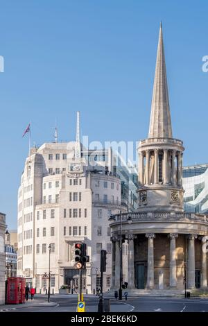 Europe, United Kingdom, England, London, Regent Street. BBC Broadcasting House and the John Nash designed church of All Souls, Langham Place - Stock Photo
