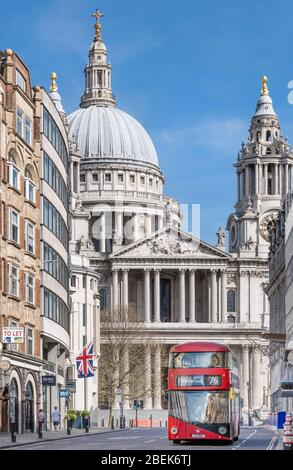 UK, London, Ludgate Hill. A red London bus in front of St. Paul's cathedral