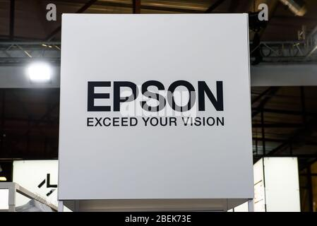 RIGA, LATVIA. 10th October 2019. Logo of EPSON company. EPSON  is a Japanese electronics company and one of the world's largest manufacturers of compu - Stock Photo