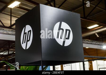 RIGA, LATVIA. 10th October 2019. Logo of HP company.  HP is an American multinational information technology company. - Stock Photo