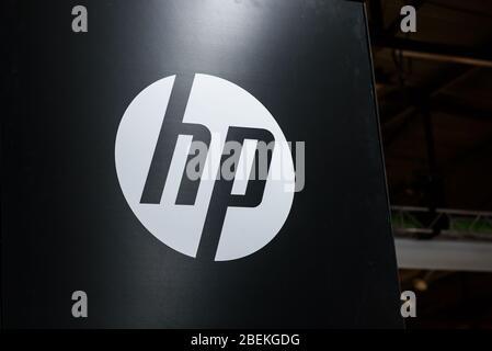 RIGA, LATVIA. 10th October 2019. Logo of HP company.  HP is an American multinational information technology company. - Stock Photo