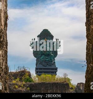 Square view of the GWK statue at Garuda Wisnu Kencana Cultural Park in Bali, Indonesia.