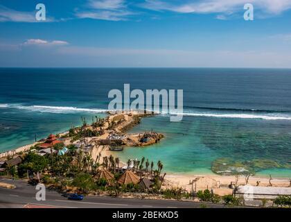 Horizontal view of Melasti beach in southern Bali, Indonesia.
