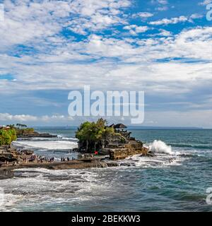 Square view of Tanah Lot temple in Bali, Indonesia. - Stock Photo