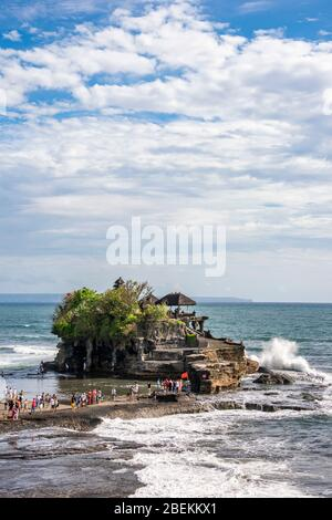 Vertical view of Tanah Lot temple in Bali, Indonesia. - Stock Photo