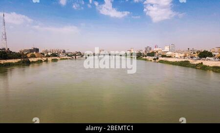 A historic river in an old town - Stock Photo
