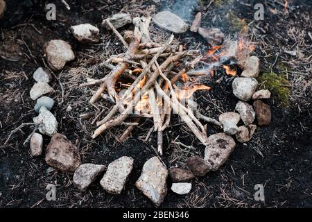 A hand made campfire on the ground in a national park in Sweden - Stock Photo