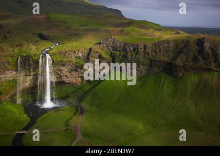 Aerial shot of the waterfall Seljalandsfoss in south Iceland - Stock Photo