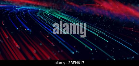 Abstract background colorful lines, communication technology concept, 3d illustration
