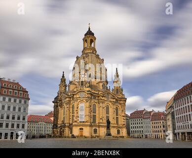 Long Time Exposure Frauenkirche Saxony Dresden empty Neumarkt no people