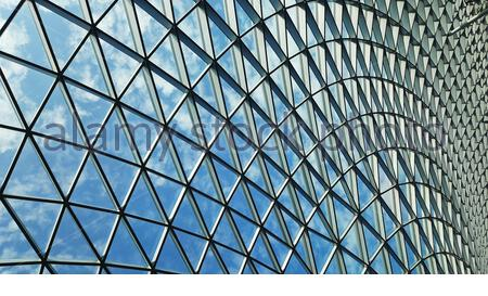 Modern steel glass dome roof at Jewel, Changi Airport, Singapore. - Stock Photo