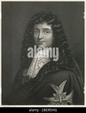 Antique engraving, Jean-Baptiste Colbert. Jean-Baptiste Colbert (1619-1683) was a French politician who served as the Minister of Finances of France from 1661 to 1683 under the rule of King Louis XIV. SOURCE: ORIGINAL ENGRAVING - Stock Photo