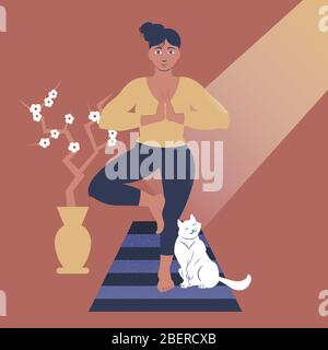 Vector illustration with a lady and her cat doing yoga. - Stock Photo