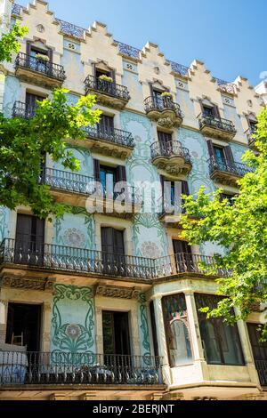 Detail Of Beautiful Facade Building Architecture In City Of Barcelona, Spain