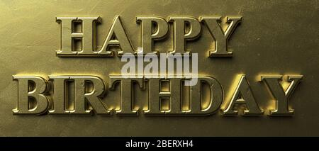 Happy birthday wishes. Inflated letters gold color text on luxury golden background. Message in greeting card. 3d illustration - Stock Photo