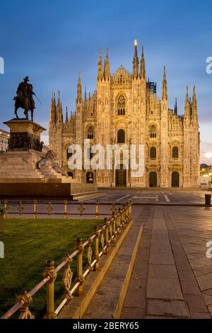 Vittorio Emanuele statue and Cathedral in Piazza del Duomo, Milan, Lombardy, Italy - Stock Photo